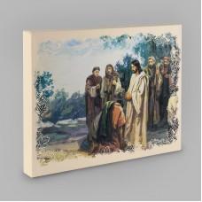 """Постер на холсте 0012  """"У ног Иисуса"""""""