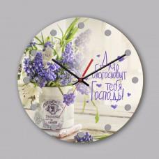 """Часы настенные деревянные """"Да благословит тебя Господь"""" 0164"""