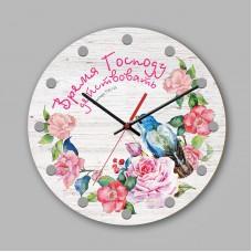 """Часы настенные деревянные """"Время Господу действовать"""" арт. 0201"""