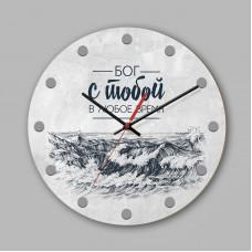 """Часы настенные деревянные """"Бог с тобой в любое время"""" арт. 0210"""