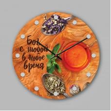 """Часы настенные деревянные """"Бог с тобой в любое время"""" 0204"""